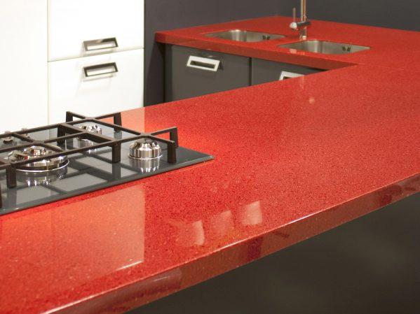 Đá đỏ ứng dụng làm bàn bếp