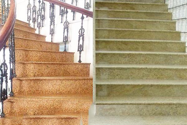 Thi công cầu thang bằng đá vàng Granite