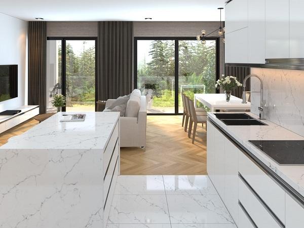 Đá tự nhiên marble tươi sáng cho không gian bếp